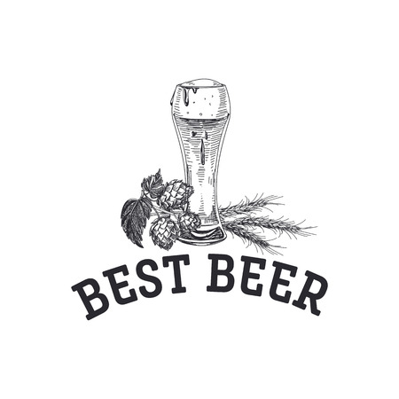 Beautiful vector hand drawn Illustration. Detailed retro style beer logo with a glass of beer. Vintage sketch element for labels and cards design. 向量圖像