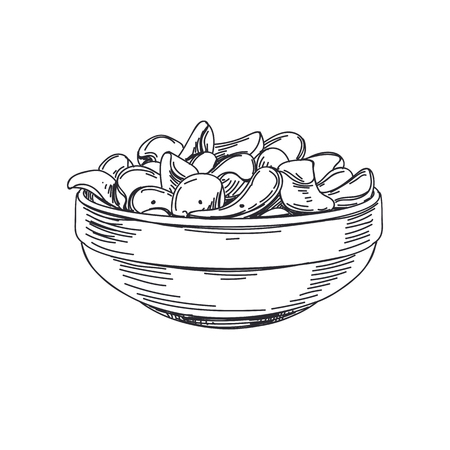 Beautiful vector hand drawn potato chips in a bowl Illustration. Detailed retro style images. Vintage sketch element for labels and cards design.