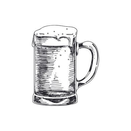 Beautiful vector hand drawn beer in a beer mug Illustration. Detailed retro style images. Çizim