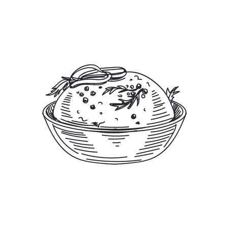 Beautiful vector hand drawn sauce in a bowl Illustration. Detailed retro style images. Vintage sketch element for labels and cards design.