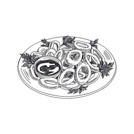 Hermoso vector dibujado a mano ilustración de mariscos. Anillos de calamar estilo retro detallados con imagen de salsa.