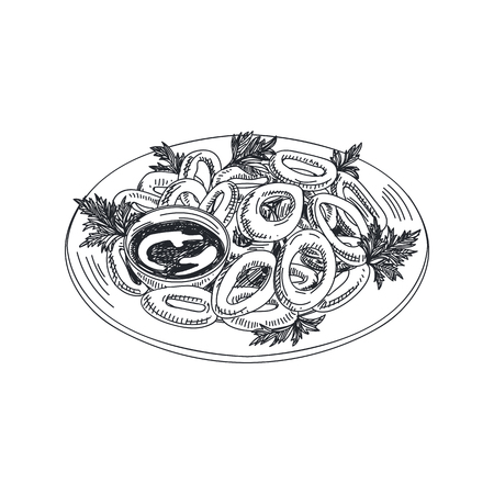 Beautiful vector hand drawn seafood Illustration. Detailed retro style squid rings with sauce image.