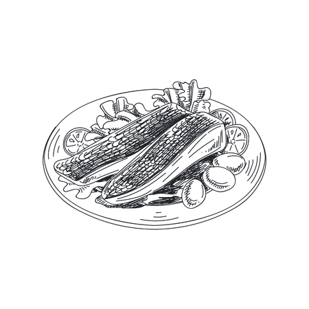 Beautiful vector hand drawn seafood Illustration. Detailed retro-style pieces of fried fish with garnish image. Stock Illustratie