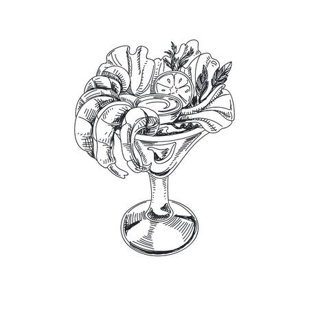 Prachtige vector hand getrokken zeevruchten illustratie. Gedetailleerde retro-stijlsalade met garnalen in een glasbeeld.