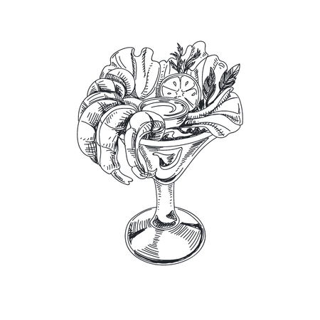 Beautiful vector hand drawn seafood Illustration. Detailed retro style salad with prawns in a glass image.