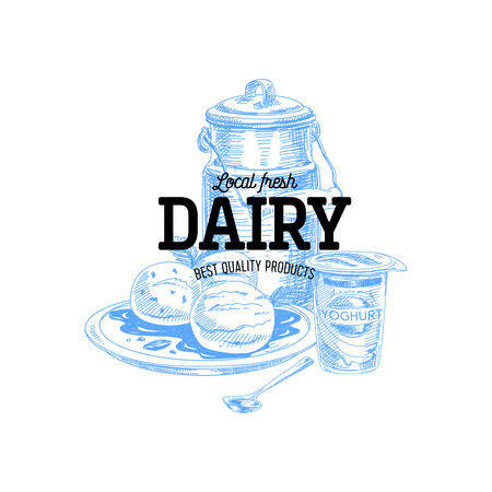 Beautiful vector hand drawn dairy products logo. Detailed retro style illustration. Vintage sketch for labels design.