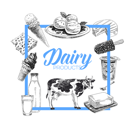Beautiful vector hand drawn dairy products Illustration. Detailed retro style background. Vintage sketches for labels. Elements collection for design.