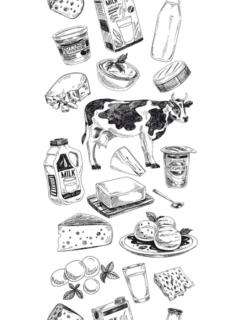 Beautiful vector hand drawn dairy products  Illustration. Detailed retro style background. Vintage sketch repeated background. Seamless border. Elements collection for design. 일러스트