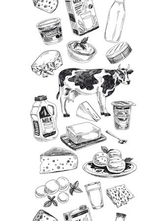Illustrazione disegnata a mano di prodotti lattiero-caseari di bello vettore. Sfondo dettagliato stile retrò. Schizzo vintage ripetuto sfondo. Confine senza soluzione di continuità. Raccolta di elementi per il design.