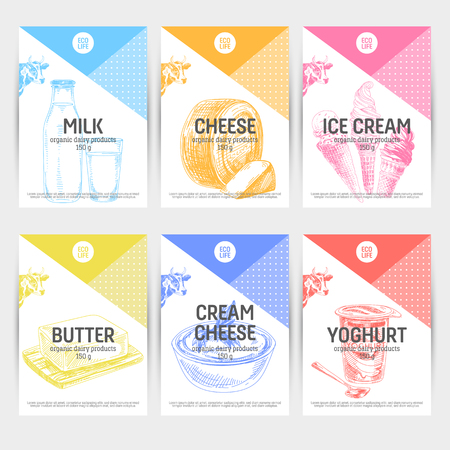Beautiful vector hand drawn dairy products card set. Detailed trendy style backgrounds. Modern sketch elements collection for packaging design.
