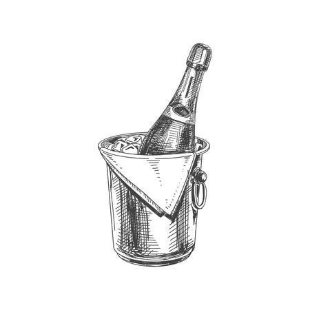 Beautiful vector hand drawn restaurant stuff Illustration. Detailed retro style ice bucket with champagne image. Vintage sketch element for labels, packaging and cards design.