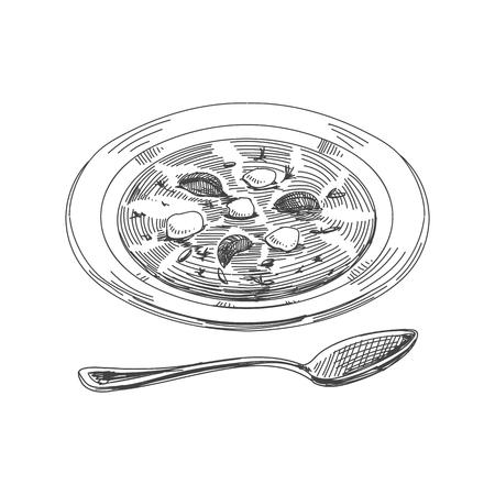 Hermoso vector dibujado a mano cosas de restaurante ilustración. Imagen detallada de sopa de estilo retro. Elemento de boceto vintage para diseño de etiquetas, envases y tarjetas.