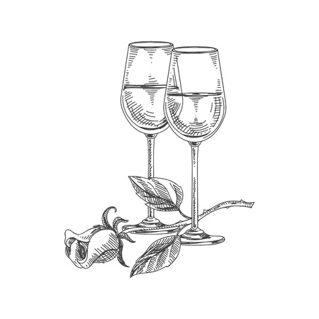 Beautiful vector hand drawn restaurant stuff Illustration. Detailed retro style two glasses of white wine and a flower image.