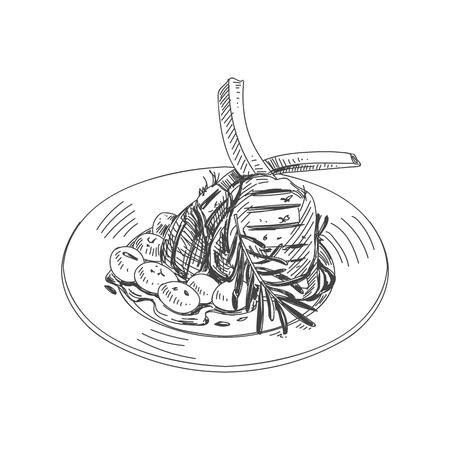 Cordero integral con patatas en una vista de mock-up . Foto de archivo - 99151327