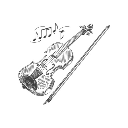 Beautiful vector hand drawn violin and a bow