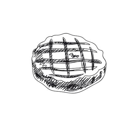 Piękny wektor ręcznie rysowane grill ilustracja. Szczegółowy obraz kotleta z grilla w stylu retro. Element szkicu Vintage do projektowania etykiet, plakatów, opakowań i kart. Wydrukuj tło szablonu.