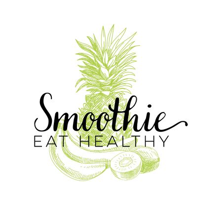 Beautiful vector hand drawn smoothie Illustration. Detailed retro style smoothie logo. Vintage sketch element for label, poster, packaging and cards design. Print template background. Illustration