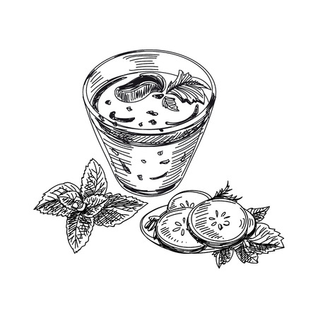 Beautiful vector hand drawn smoothie Illustration. Detailed retro style glass with smoothies image. Vintage sketch element for label, poster, packaging and cards design. Print template background.
