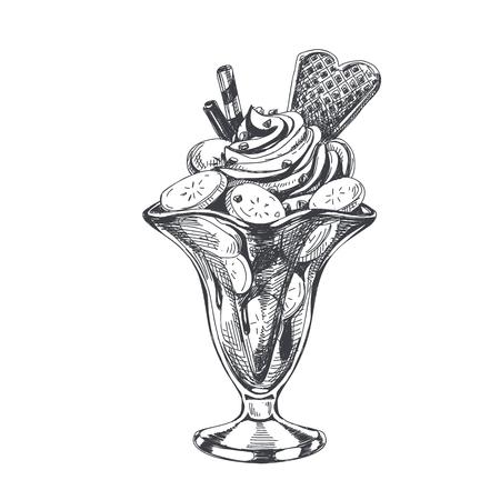 Piękny wektor ręcznie rysowane lody bananowe z bitą śmietaną ilustracja. Szczegółowy obraz w stylu retro. Element szkicu Vintage do projektowania etykiet, opakowań i kart. Nowoczesne tło.