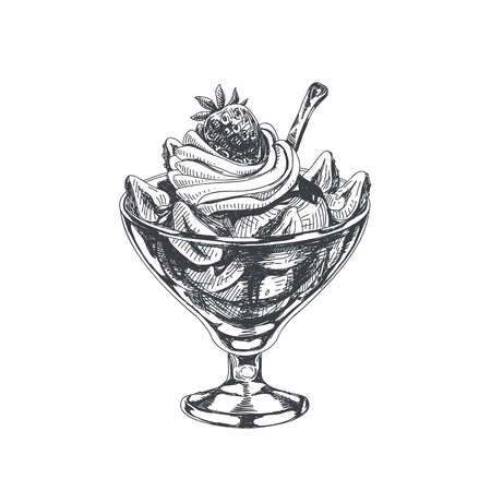 Beautiful vector hand drawn strawberry sundae with whipped cream Illustration. Detailed retro style image. Vintage sketch element for labels, packaging and cards design. Modern background.