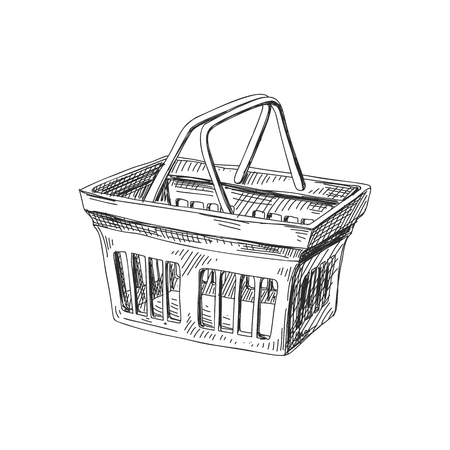Beautiful vector hand drawn shopping basket Illustration. Detailed retro style image. Vintage sketch element for labels, packaging and cards design. Modern background.