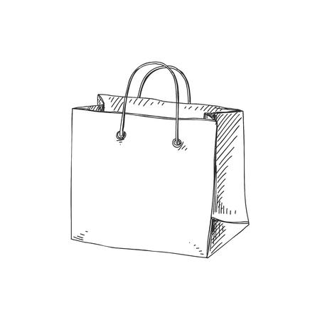 Piękny wektor ręcznie rysowane ilustracja torba na zakupy. Szczegółowy obraz w stylu retro. Vintage element szkicu do projektowania etykiet, opakowań i kart. Nowoczesne tło. Ilustracje wektorowe