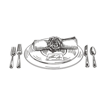 Beautiful vector hand drawn Serving plate with cutlery and napkin Illustration. Detailed retro style image. Vintage sketch element for labels, packaging and cards design. Modern background.