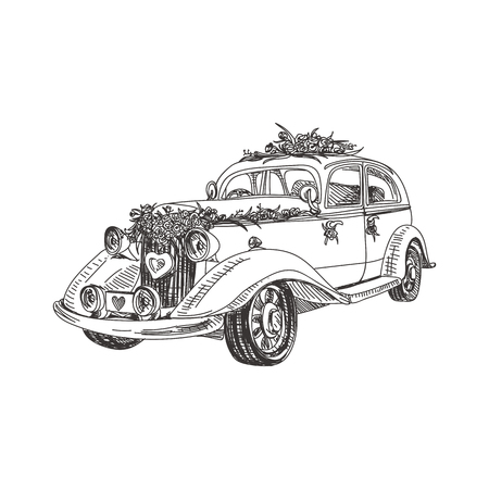 Beautiful vector hand drawn a wedding retro car Illustration. Detailed retro style image. Vintage sketch element for labels, packaging and cards design. Modern background.