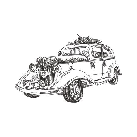 Hermoso vector dibujado a mano una ilustración de coche retro de boda. Imagen detallada de estilo retro. Elemento de dibujo vintage para diseño de etiquetas, envases y tarjetas. Fondo moderno. Ilustración de vector
