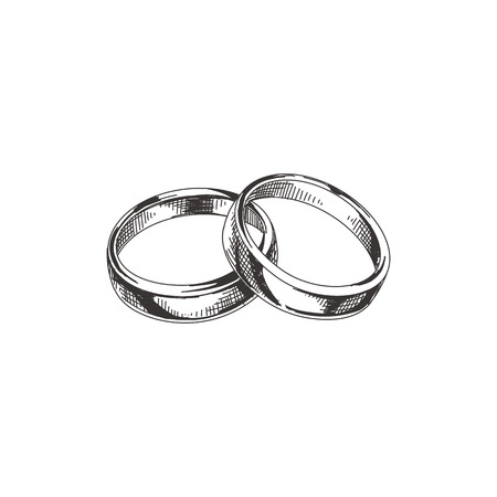 Beautiful vector hand drawn wedding rings Illustration. Detailed retro style image. Vintage sketch element for labels, packaging and cards design. Modern background. Illustration