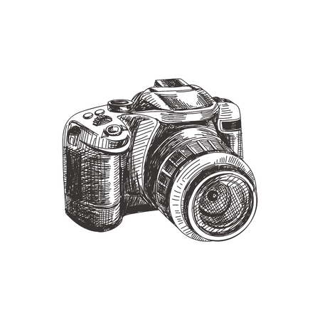 Beautiful vector hand drawn photo camera Illustration. Detailed retro style image. Vintage sketch element for labels, packaging and cards design. Modern background.