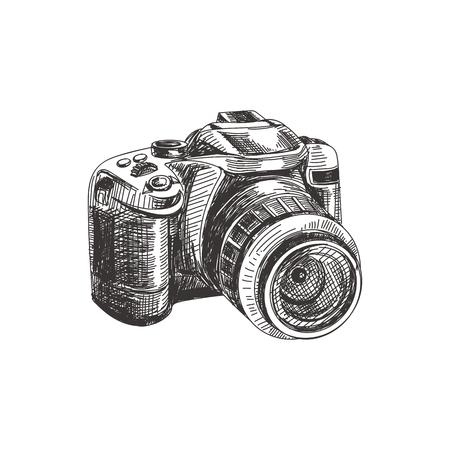 Illustrazione disegnata a mano della macchina fotografica della foto di bello vettore. Immagine dettagliata in stile retrò. Elemento di schizzo vintage per la progettazione di etichette, imballaggi e carte. Sfondo moderno.