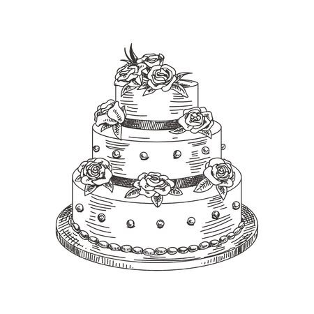 Beautiful vector hand drawn a wedding cake Illustration. Detailed retro style image. Vintage sketch element for labels, packaging and cards design. Modern background. Vettoriali