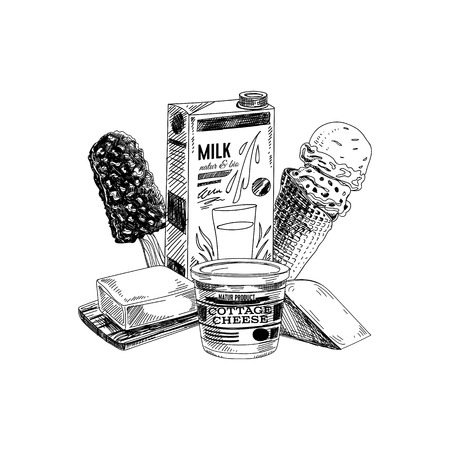 Beautiful vector hand drawn dairy products illustration. Detailed retro style label. Vintage sketch for logos. Element  for design.