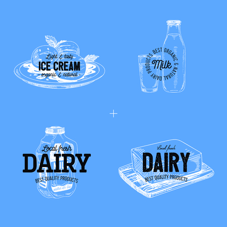 Beautiful vector hand drawn dairy products logos. Detailed retro style labels. Vintage sketches for logos. Elements collection for design.