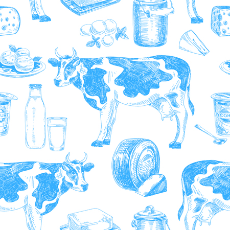 Beautiful vector hand drawn dairy products  seamless pattern. Detailed retro style images. Vintage sketch repeated background. Seamless pattern. Elements collection for design.