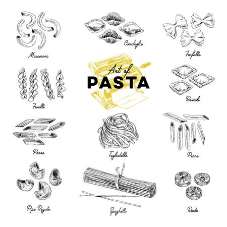 Illustrazioni di pasta disegnata a mano di vettore bello. Immagini dettagliate in stile retrò. Elementi di schizzo vintage per etichette, imballaggi e cartoline. Sfondo moderno.