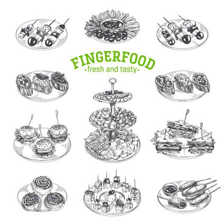 Illustrazioni di finger food disegnato a mano di bello vettore. Immagini dettagliate in stile retrò. Elementi di schizzo vintage per etichette, imballaggi e design di carte. Sfondo moderno.