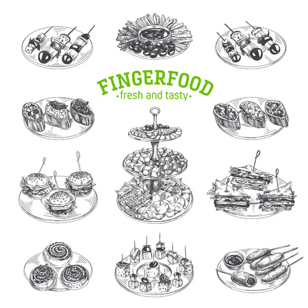 Beautiful vector hand drawn finger food Illustrations. Detailed retro style images. Vintage sketch elements for labels, packaging and cards design. Modern background.