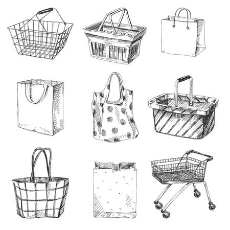 Prachtige vector hand getrokken winkelwagentje, tas en mand set illustraties. Gedetailleerde afbeeldingen in retrostijl. Vintage schetselement voor etiketten, verpakkingen en kaartenontwerp. Moderne achtergrond.