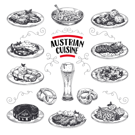 Beautiful vector hand drawn austrian cuisine Illustrations set. Detailed retro style images. Vintage sketch elements for labels, packaging and cards design. Modern background.