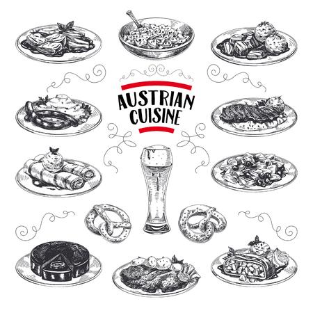 Insieme di illustrazioni di cucina austriaca disegnato a mano di vettore bello. Immagini dettagliate in stile retrò. Elementi di schizzo vintage per etichette, imballaggi e cartoline. Sfondo moderno.