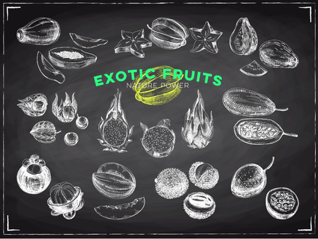 Beautiful vector hand drawn exotic fruits chalkboard Illustrations set. Detailed retro style images. Vintage sketches for labels. Elements collection for design. Illustration