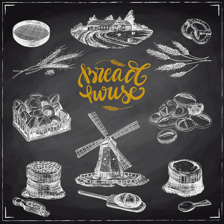 Beautiful vector hand drawn bakery Illustrations set. Detailed retro style images. Vintage sketches for labels. Elements collection for design. Chalkboard