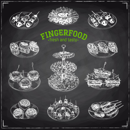 Beautiful vector hand drawn finger food Illustrations. Detailed retro style images. Vintage sketch elements for labels, packaging and cards design. Modern background. Chalkboard Standard-Bild - 104284388
