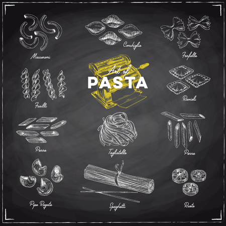 Beautiful vector hand drawn pasta Illustration. Detailed retro style image. Vintage sketch element for labels, packaging and cards design. Modern chalkboard background.