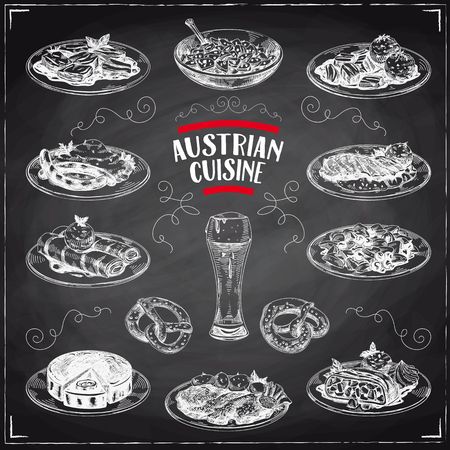Beautiful vector hand drawn austrian cuisine Illustrations set. Detailed retro style images. Vintage sketch elements for labels, packaging and cards design. Modern background. Chalkboard