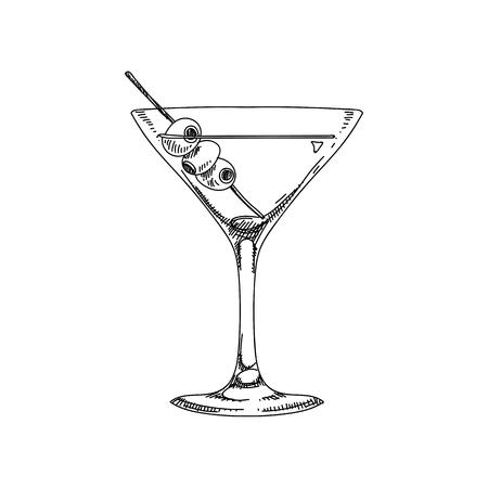 Prachtige vector hand getekend coctail kosmopolitische illustratie. Gedetailleerd retro-stijlbeeld. Vintage schetselement voor etiketten, verpakkingen en kaartenontwerp. Moderne achtergrond.