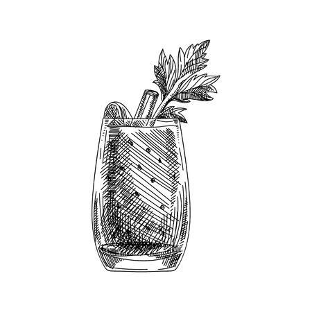 Prachtige vector hand getekend cocktail bloody Mary illustratie. Gedetailleerd retro-stijlbeeld. Vintage schetselement voor etiketten, verpakkingen en kaartenontwerp. Moderne achtergrond. Vector Illustratie