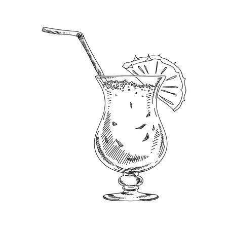 Beautiful vector hand drawn coctail Pina Colada Illustration. Detailed retro style image. Vintage sketch element for labels, packaging and cards design. Modern background.